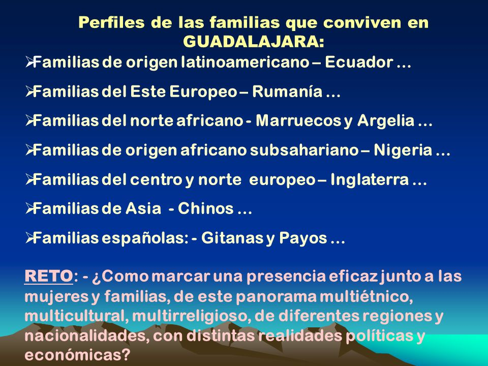 Perfiles de las familias que conviven en GUADALAJARA: