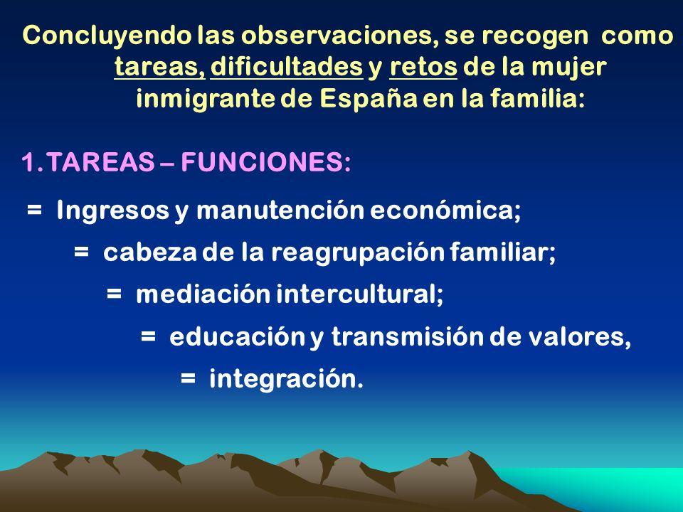 Concluyendo las observaciones, se recogen como tareas, dificultades y retos de la mujer inmigrante de España en la familia: