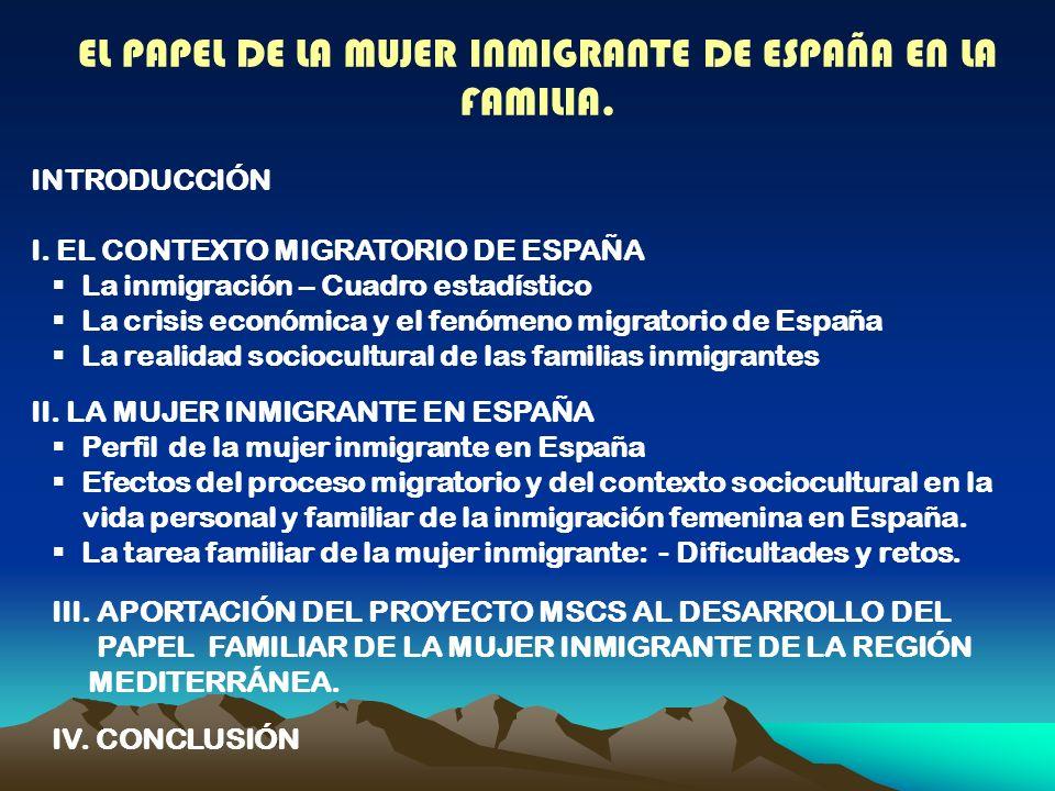 EL PAPEL DE LA MUJER INMIGRANTE DE ESPAÑA EN LA FAMILIA.