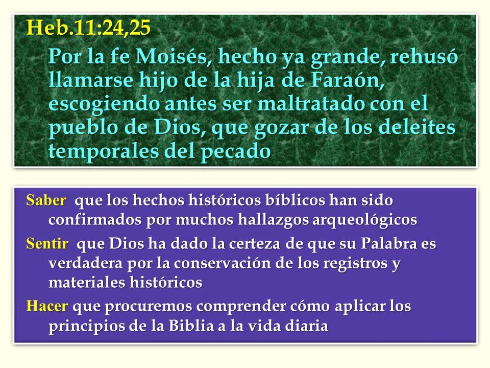 Heb.11:24,25 Por la fe Moisés, hecho ya grande, rehusó llamarse hijo de la hija de Faraón, escogiendo antes ser maltratado con el pueblo de Dios, que gozar de los deleites temporales del pecado