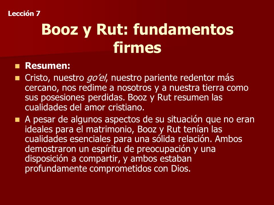 Booz y Rut: fundamentos firmes