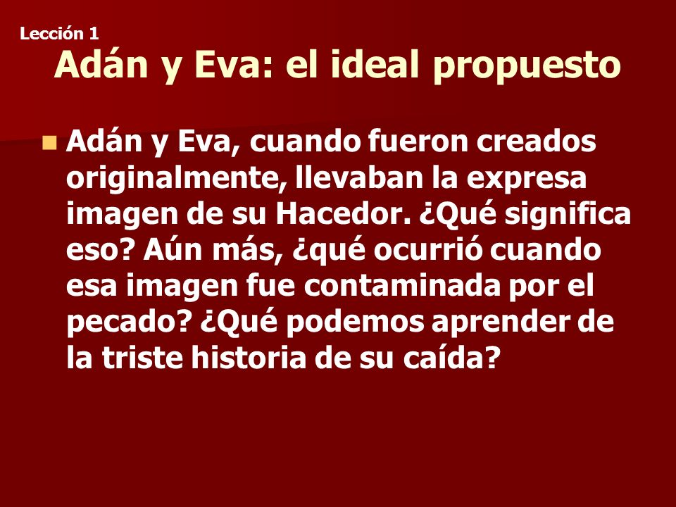 Adán y Eva: el ideal propuesto