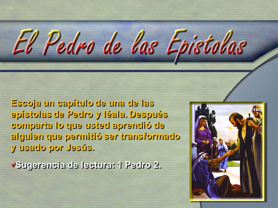 Escoja un capítulo de una de las epístolas de Pedro y léala