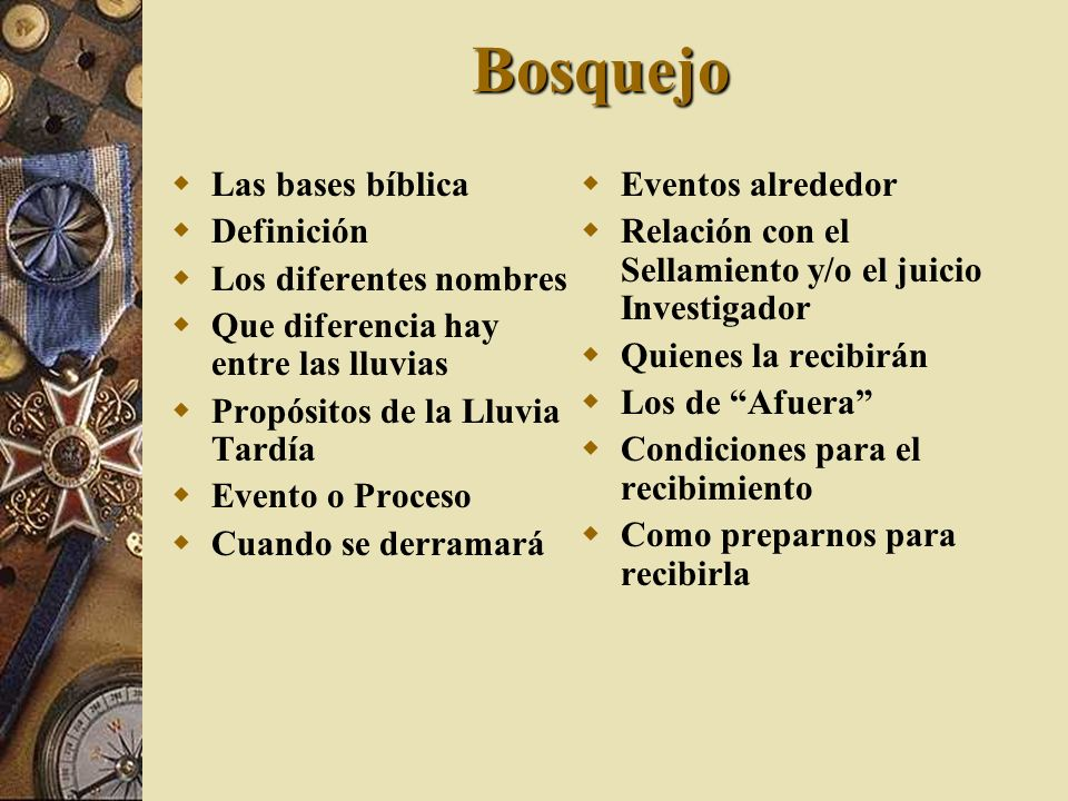 Bosquejo Las bases bíblica Definición Los diferentes nombres