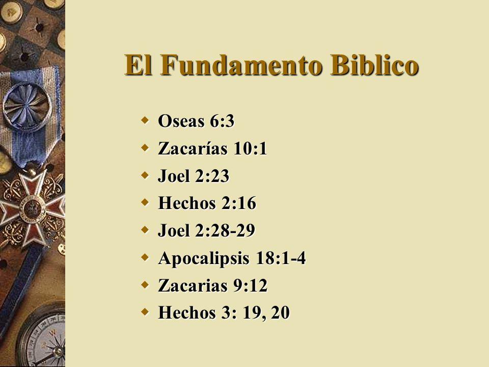 El Fundamento Biblico Oseas 6:3 Zacarías 10:1 Joel 2:23 Hechos 2:16