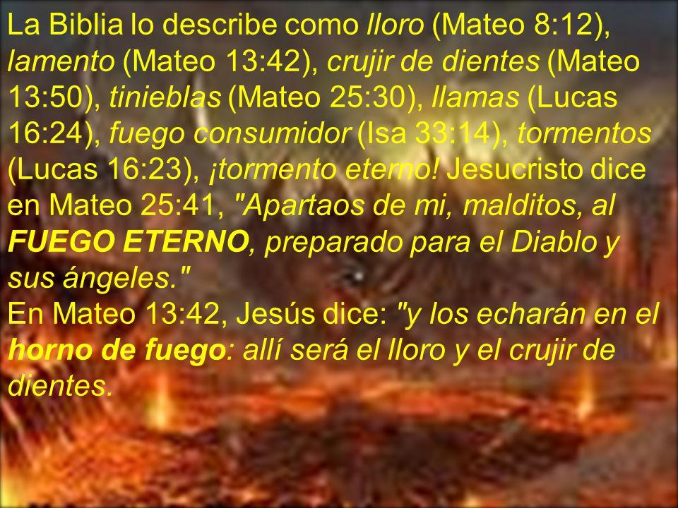La Biblia lo describe como lloro (Mateo 8:12), lamento (Mateo 13:42), crujir de dientes (Mateo 13:50), tinieblas (Mateo 25:30), llamas (Lucas 16:24), fuego consumidor (Isa 33:14), tormentos (Lucas 16:23), ¡tormento eterno! Jesucristo dice en Mateo 25:41, Apartaos de mi, malditos, al FUEGO ETERNO, preparado para el Diablo y sus ángeles.
