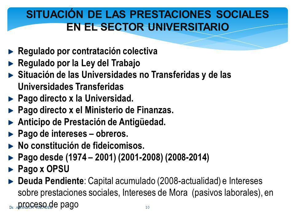 SITUACIÓN DE LAS PRESTACIONES SOCIALES EN EL SECTOR UNIVERSITARIO