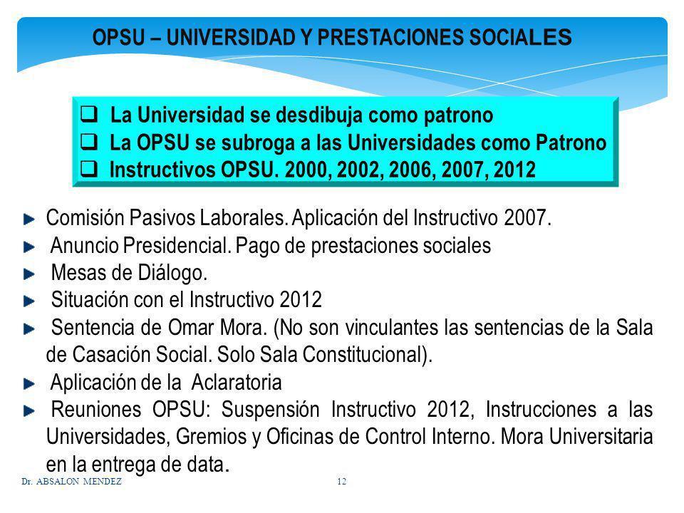 OPSU – UNIVERSIDAD Y PRESTACIONES SOCIALES