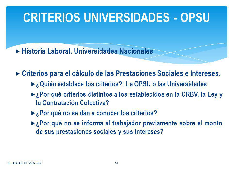 CRITERIOS UNIVERSIDADES - OPSU
