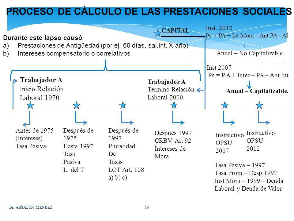 PROCESO DE CÁLCULO DE LAS PRESTACIONES SOCIALES