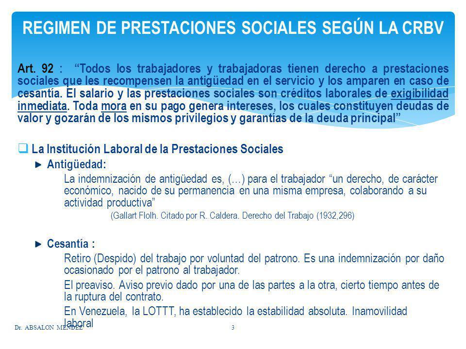 REGIMEN DE PRESTACIONES SOCIALES SEGÚN LA CRBV