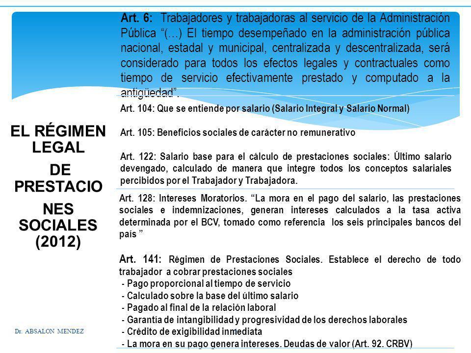 EL RÉGIMEN LEGAL DE PRESTACIO NES SOCIALES (2012)