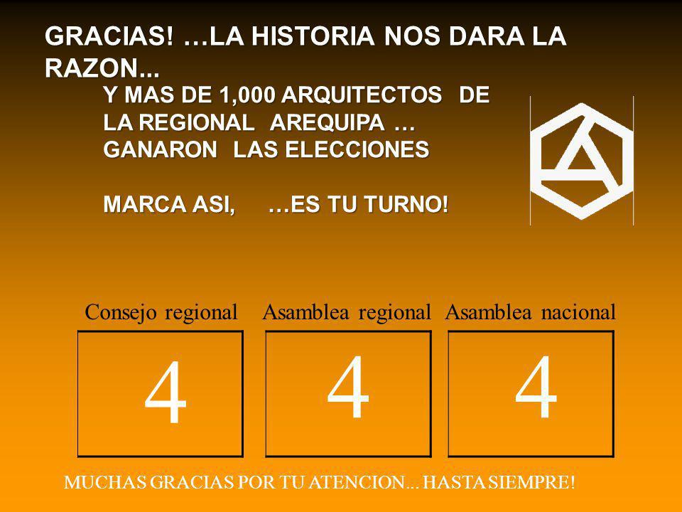 4 4 4 GRACIAS! …LA HISTORIA NOS DARA LA RAZON...