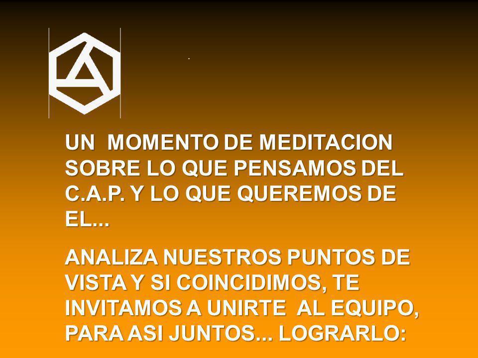 . UN MOMENTO DE MEDITACION SOBRE LO QUE PENSAMOS DEL C.A.P. Y LO QUE QUEREMOS DE EL...