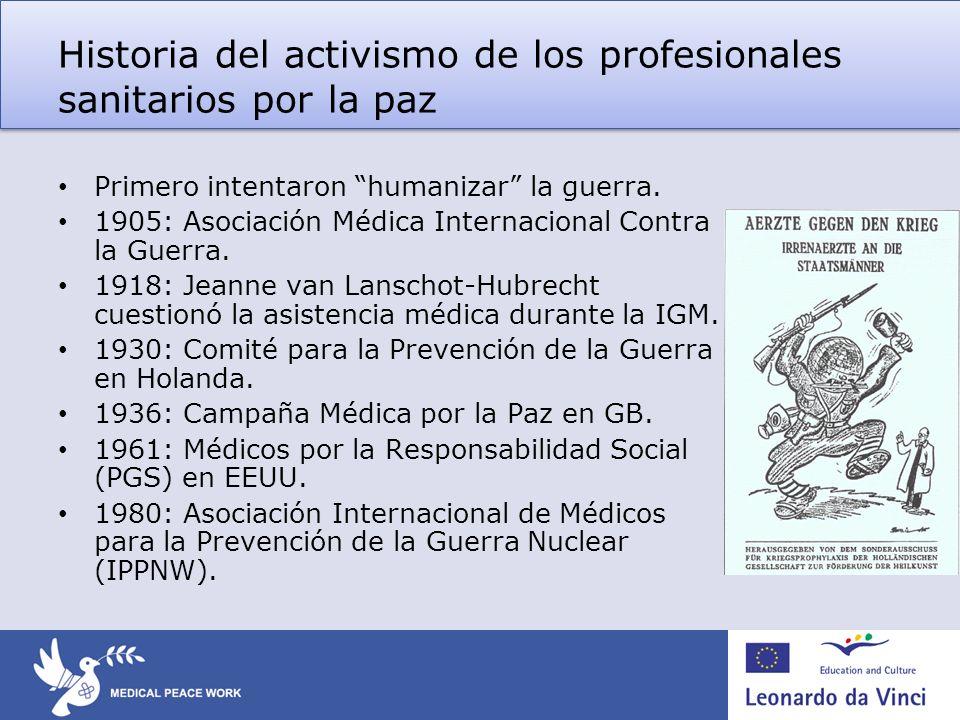 Historia del activismo de los profesionales sanitarios por la paz