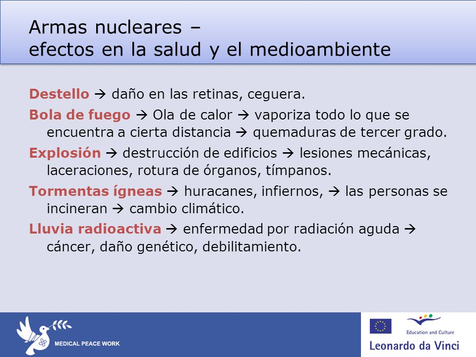 Armas nucleares – efectos en la salud y el medioambiente