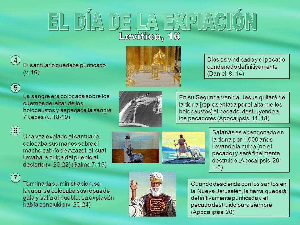 EL DÍA DE LA EXPIACIÓN Levítico, 16 4 5 6 7