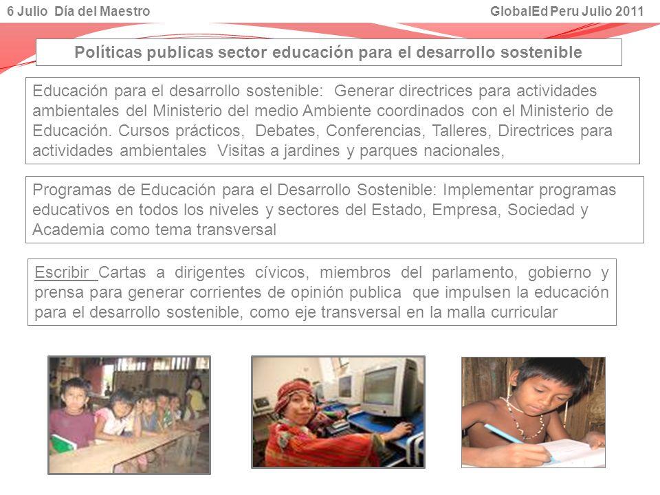Políticas publicas sector educación para el desarrollo sostenible