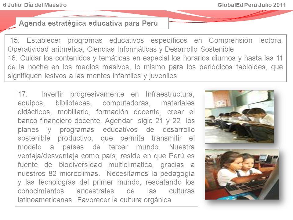 Agenda estratégica educativa para Peru
