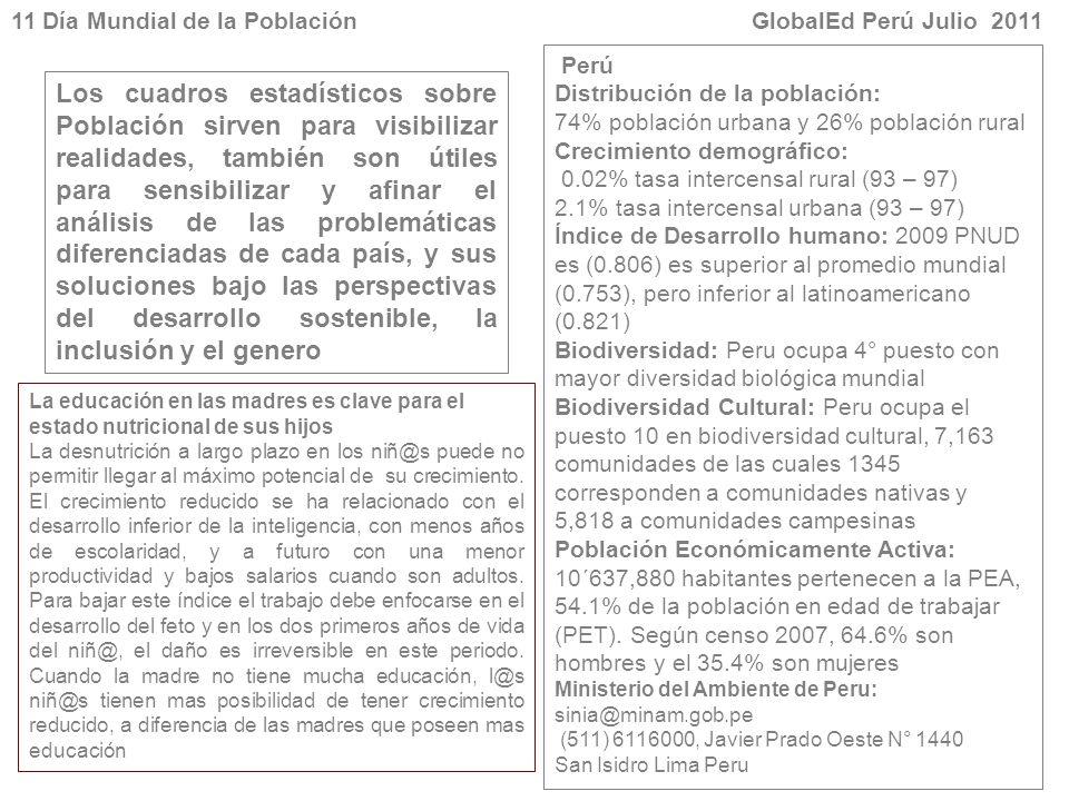 11 Día Mundial de la Población GlobalEd Perú Julio 2011