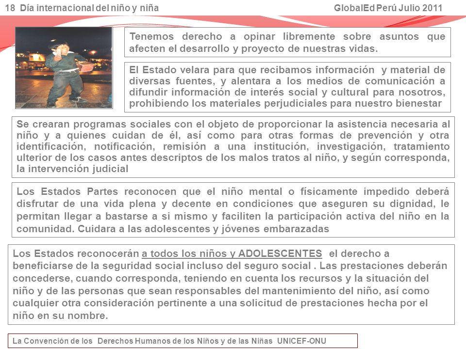 18 Día internacional del niño y niña GlobalEd Perú Julio 2011