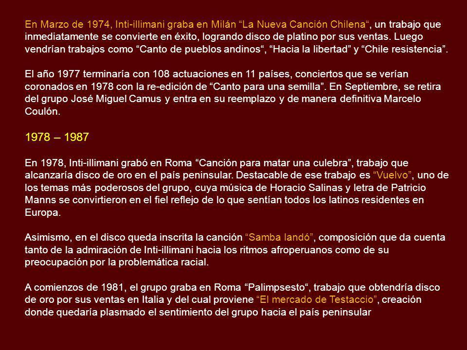 En Marzo de 1974, Inti-illimani graba en Milán La Nueva Canción Chilena , un trabajo que inmediatamente se convierte en éxito, logrando disco de platino por sus ventas. Luego vendrían trabajos como Canto de pueblos andinos , Hacia la libertad y Chile resistencia .