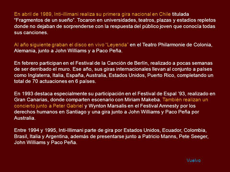 En abril de 1989, Inti-illimani realiza su primera gira nacional en Chile titulada Fragmentos de un sueño . Tocaron en universidades, teatros, plazas y estadios repletos donde no dejaban de sorprenderse con la respuesta del público joven que conocía todas sus canciones.