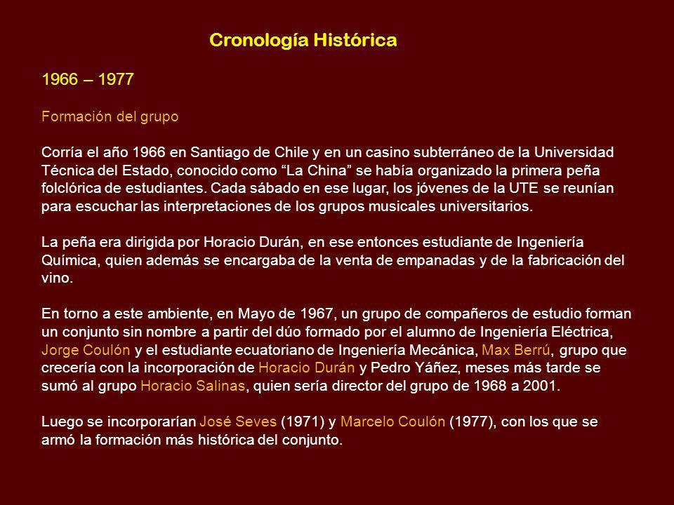 Cronología Histórica 1966 – 1977 Formación del grupo
