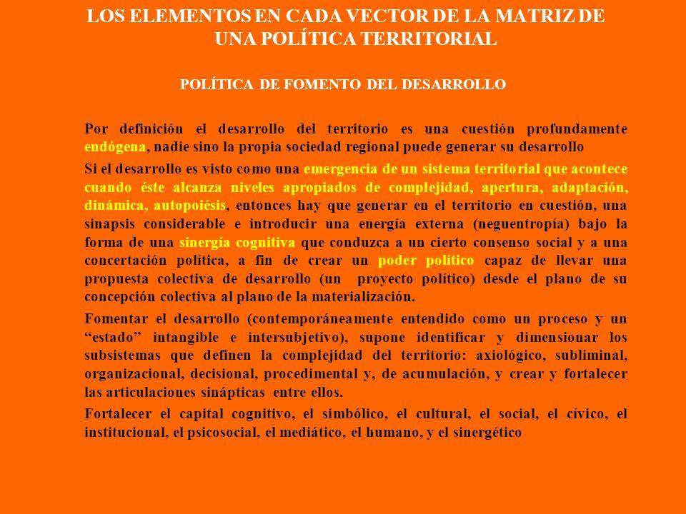 LOS ELEMENTOS EN CADA VECTOR DE LA MATRIZ DE UNA POLÍTICA TERRITORIAL