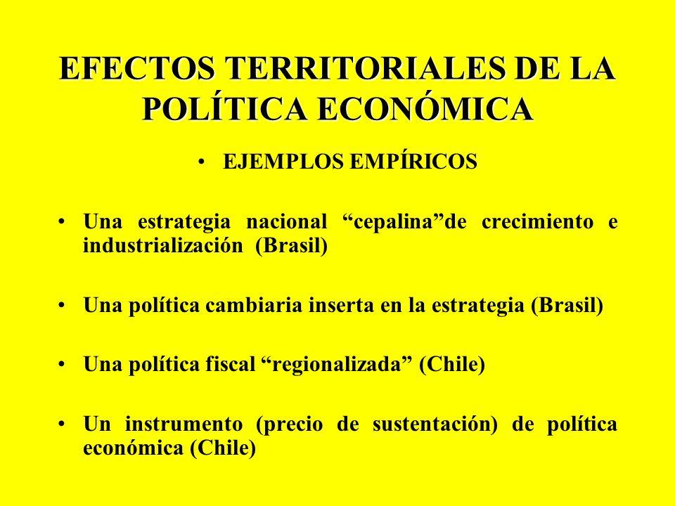 EFECTOS TERRITORIALES DE LA POLÍTICA ECONÓMICA