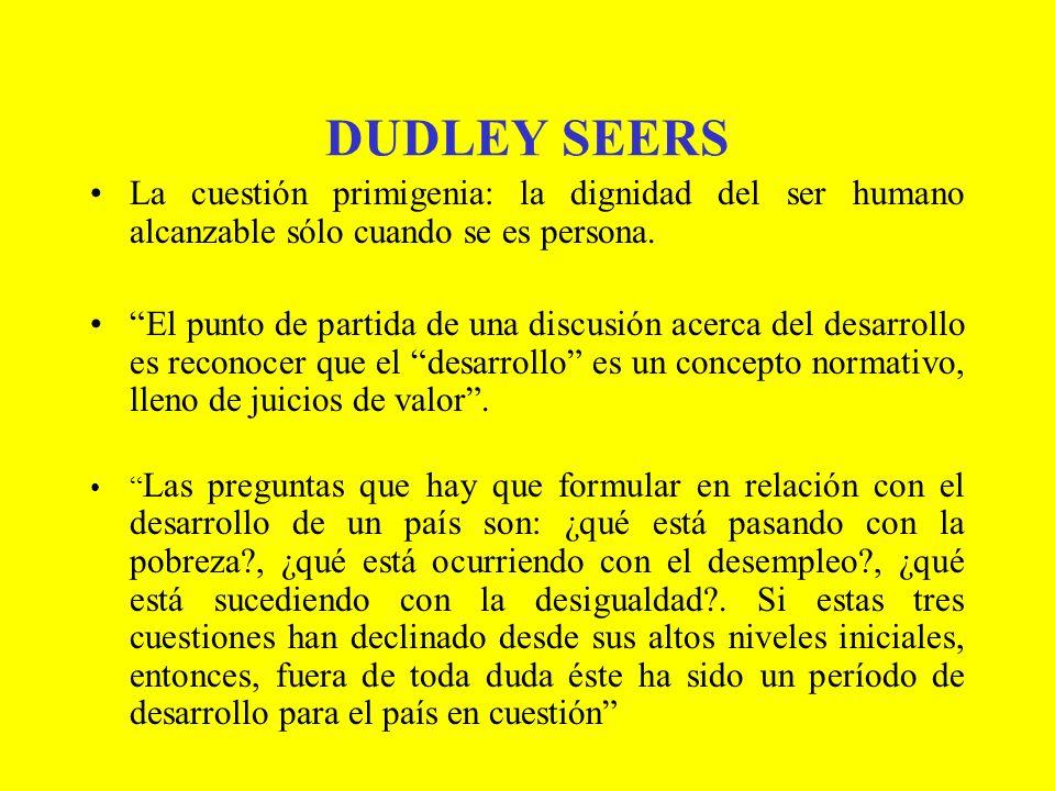 DUDLEY SEERS La cuestión primigenia: la dignidad del ser humano alcanzable sólo cuando se es persona.