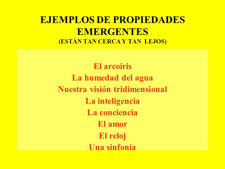 EJEMPLOS DE PROPIEDADES EMERGENTES (ESTÁN TAN CERCA Y TAN LEJOS)