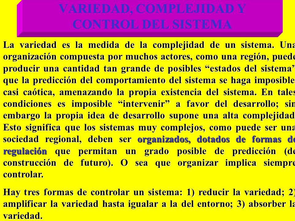 VARIEDAD, COMPLEJIDAD Y CONTROL DEL SISTEMA