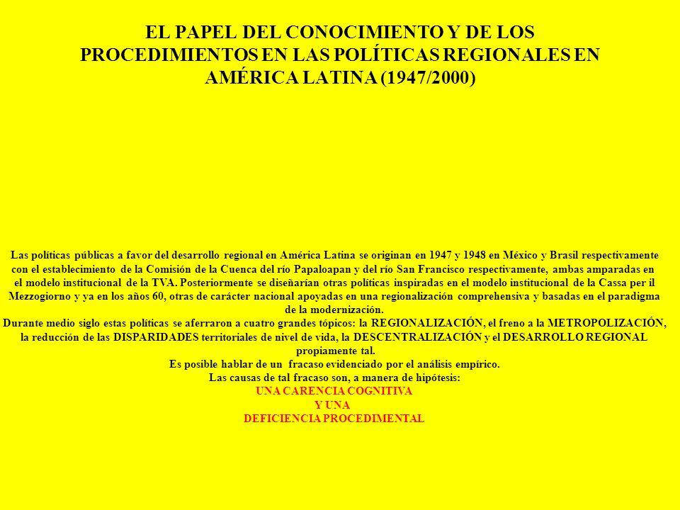 EL PAPEL DEL CONOCIMIENTO Y DE LOS PROCEDIMIENTOS EN LAS POLÍTICAS REGIONALES EN AMÉRICA LATINA (1947/2000)