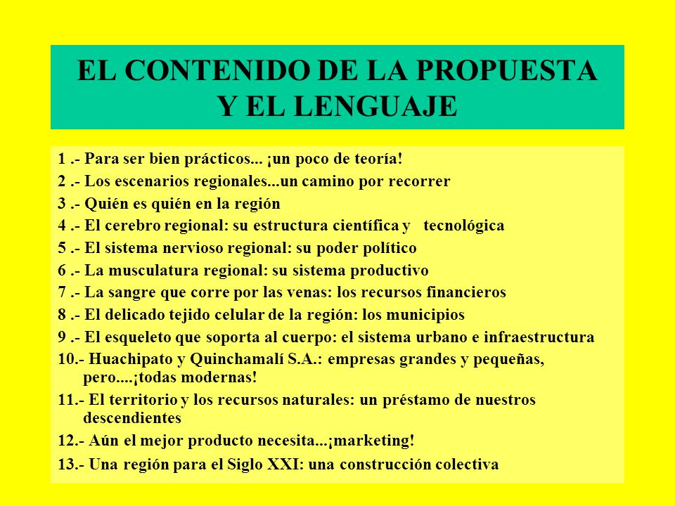 EL CONTENIDO DE LA PROPUESTA Y EL LENGUAJE