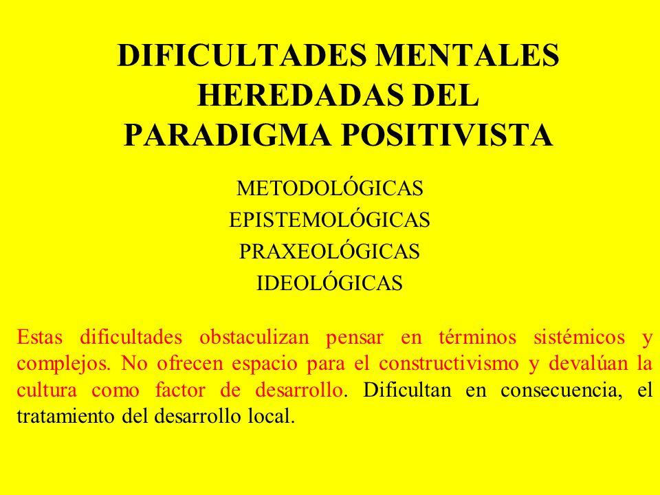 DIFICULTADES MENTALES HEREDADAS DEL PARADIGMA POSITIVISTA