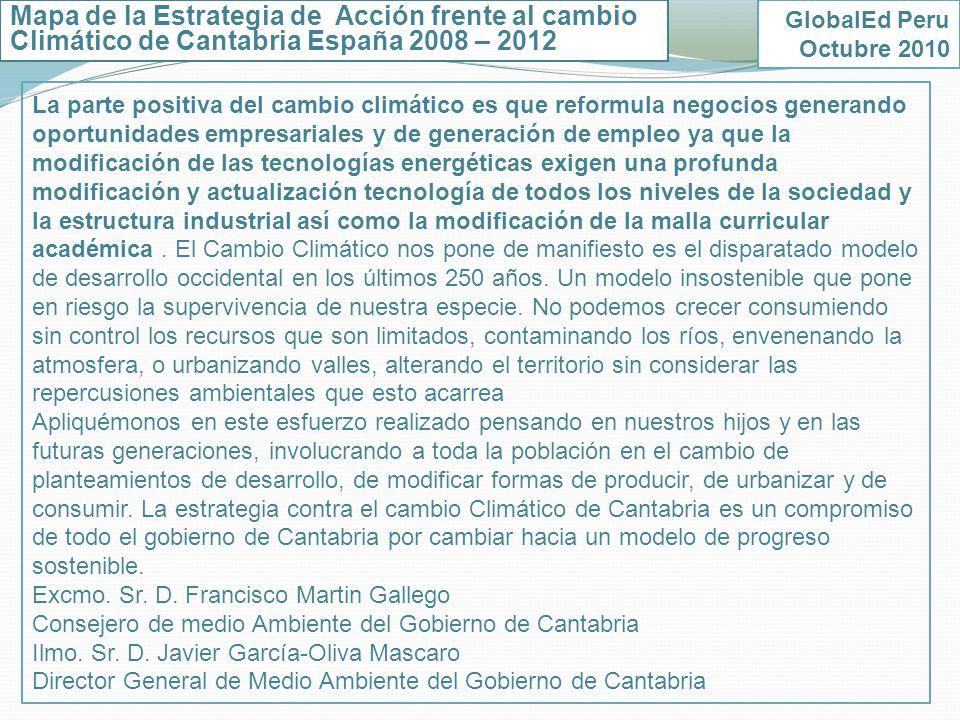 Mapa de la Estrategia de Acción frente al cambio Climático de Cantabria España 2008 – 2012