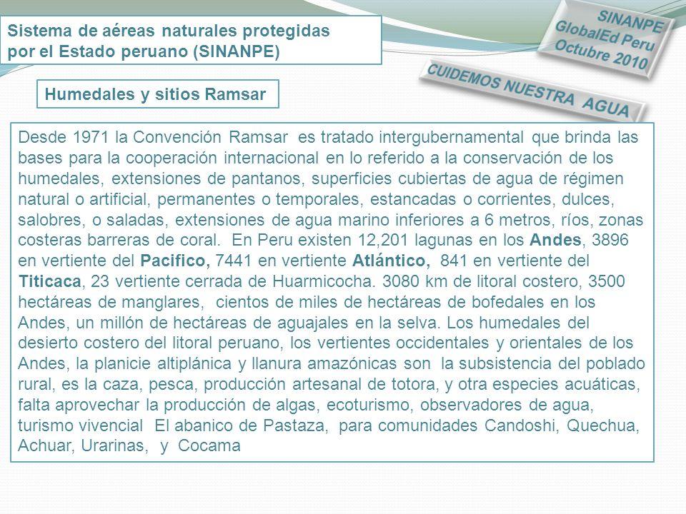 SINANPE GlobalEd Peru Octubre 2010. Sistema de aéreas naturales protegidas. por el Estado peruano (SINANPE)