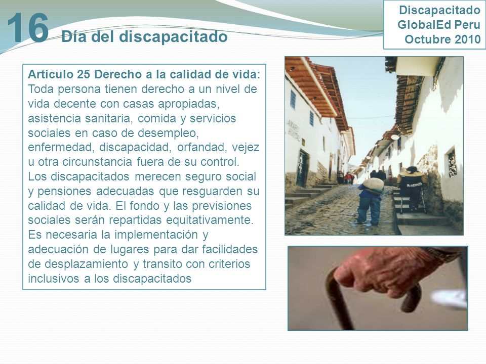 16 Día del discapacitado Discapacitado GlobalEd Peru Octubre 2010
