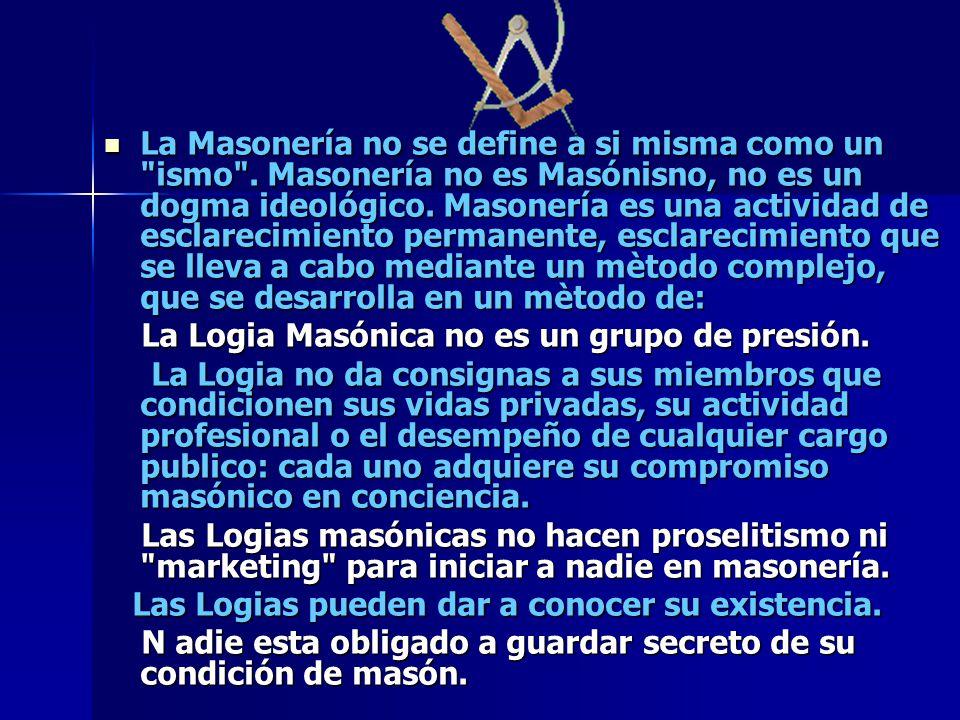 La Masonería no se define a si misma como un ismo
