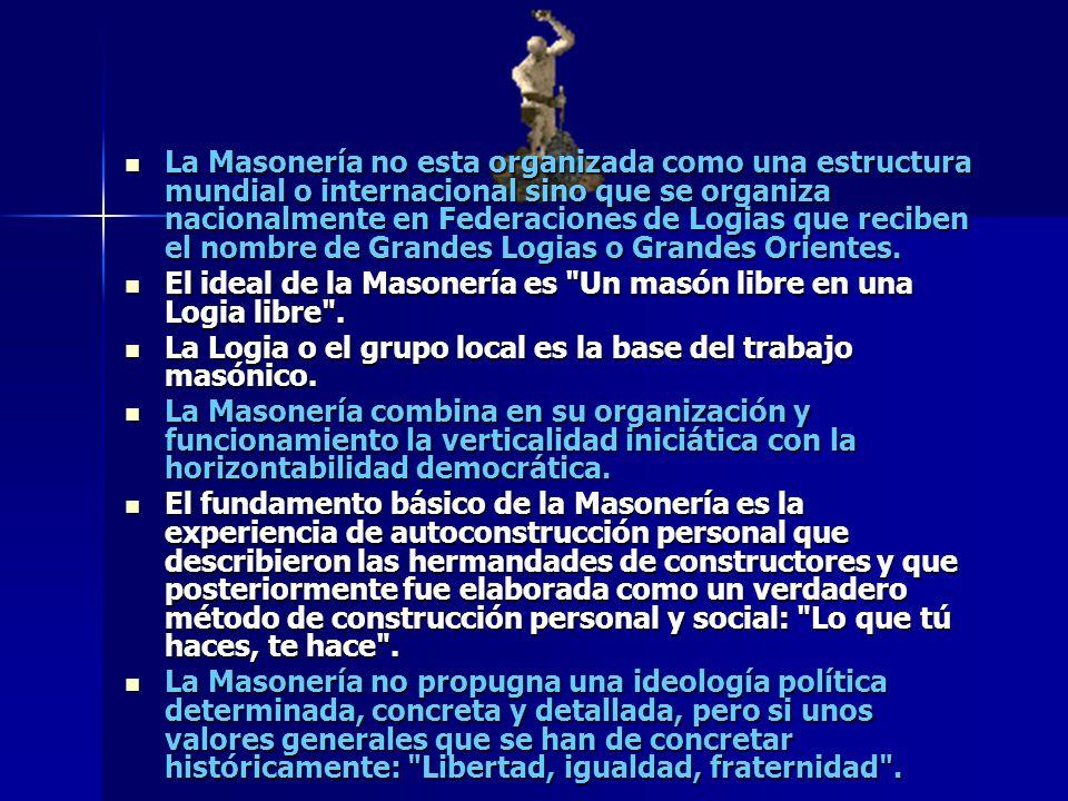 La Masonería no esta organizada como una estructura mundial o internacional sino que se organiza nacionalmente en Federaciones de Logias que reciben el nombre de Grandes Logias o Grandes Orientes.