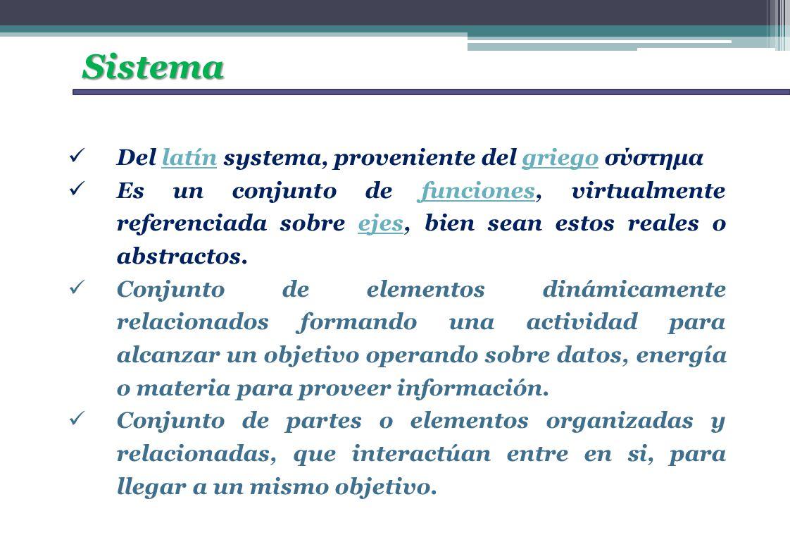 Sistema Del latín systema, proveniente del griego σύστημα