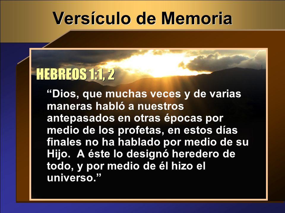 Versículo de Memoria HEBREOS 1:1, 2