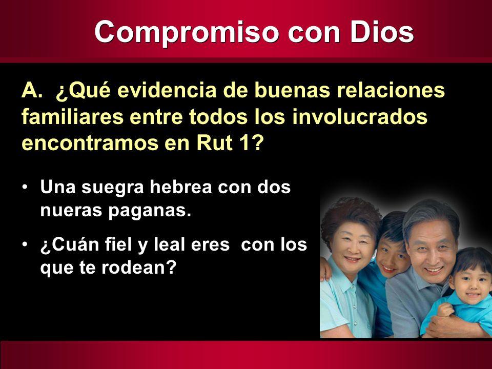 Compromiso con Dios A. ¿Qué evidencia de buenas relaciones familiares entre todos los involucrados encontramos en Rut 1