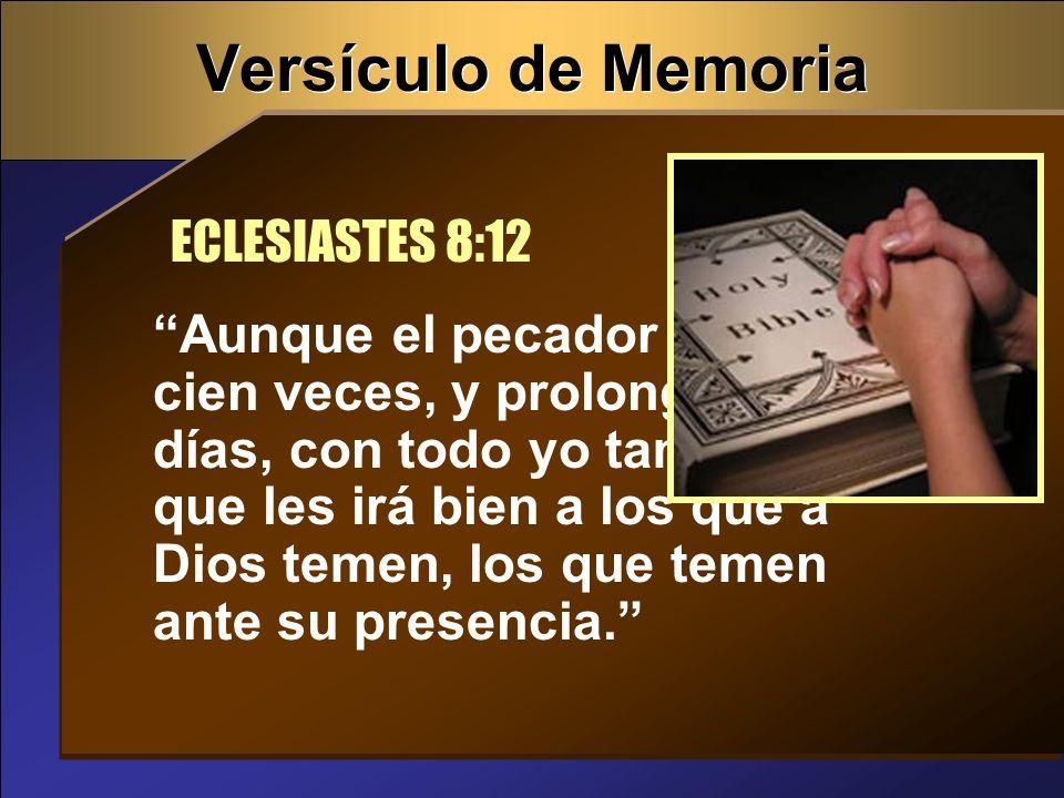 Versículo de Memoria ECLESIASTES 8:12