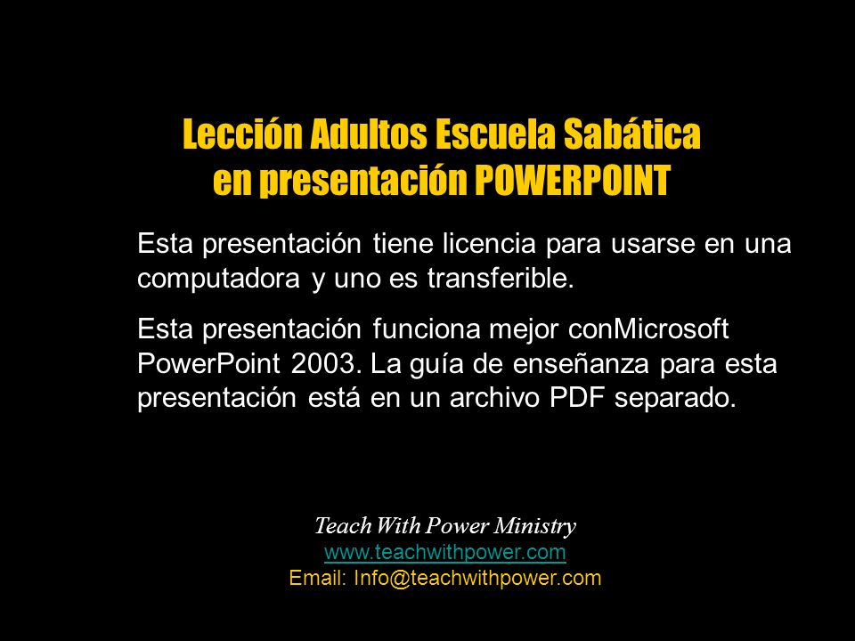 Lección Adultos Escuela Sabática en presentación POWERPOINT