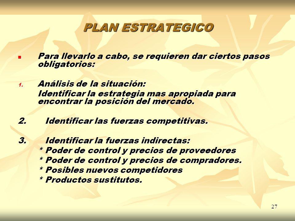 PLAN ESTRATEGICO Para llevarlo a cabo, se requieren dar ciertos pasos obligatorios: Análisis de la situación: