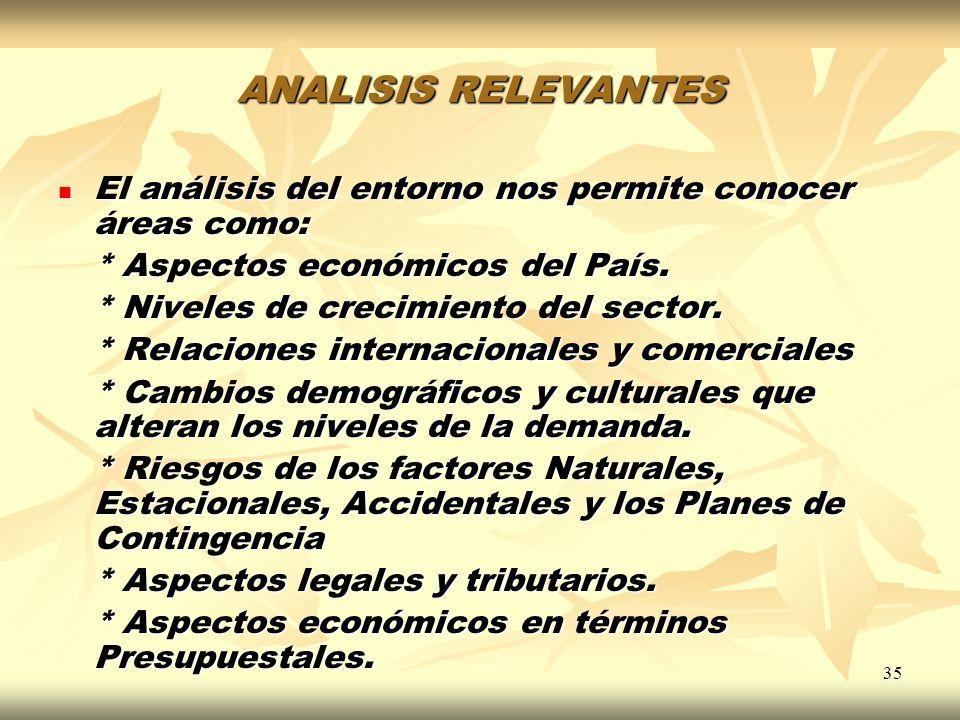 ANALISIS RELEVANTES El análisis del entorno nos permite conocer áreas como: * Aspectos económicos del País.