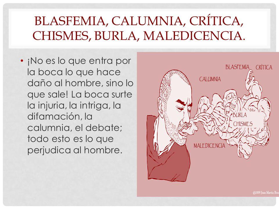 Blasfemia, calumnia, crítica, chismes, burla, maledicencia.