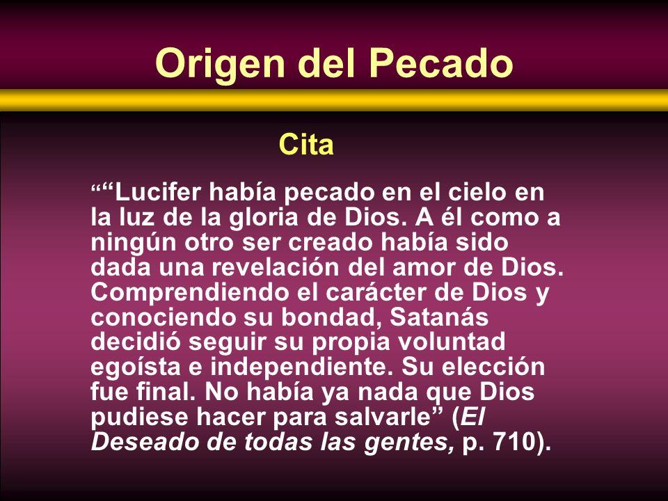 Origen del Pecado Cita.